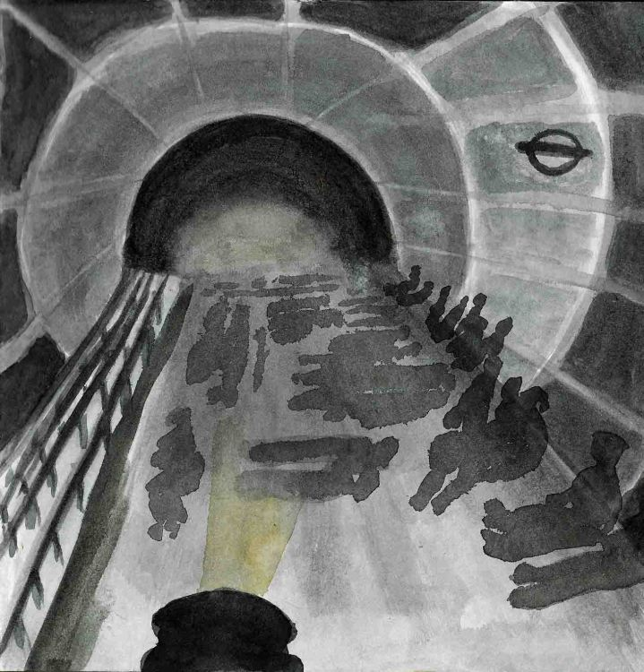 London underground rough watercolour
