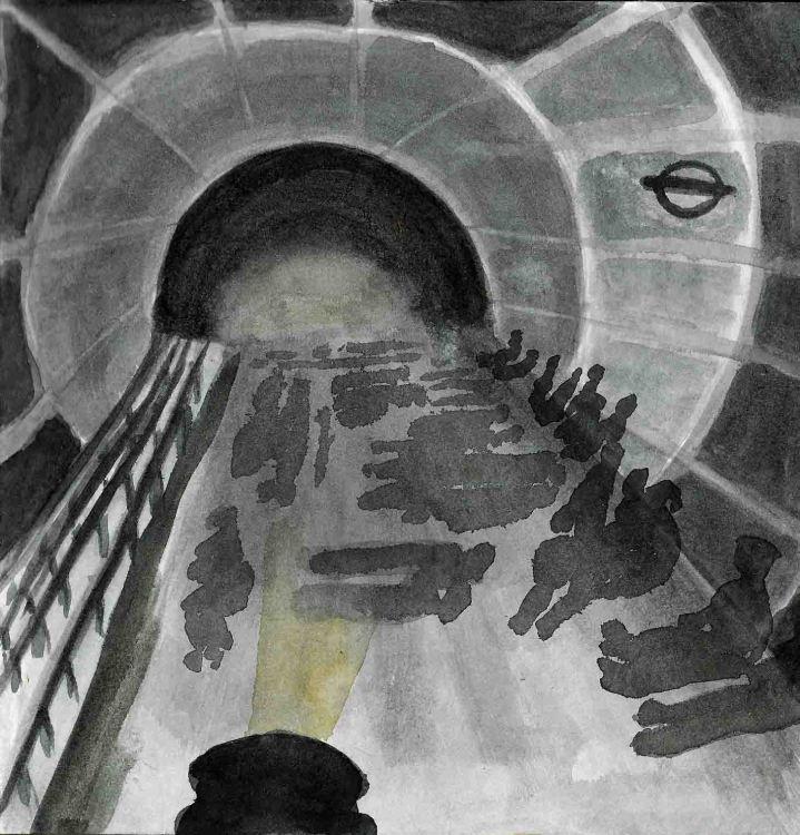 London underground rough watercolour