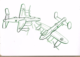 Lancaster bomber, ink on paper
