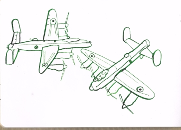 Lancaster bomber, ink on paper