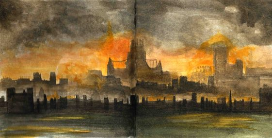 Great Fire of London skyline